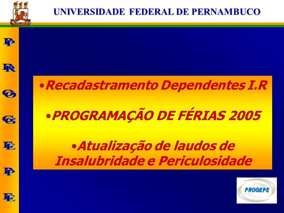 UNIVERSIDADE FEDERAL DE PERNAMBUCO Recadastramento Dependentes I.R PROGRAMAÇÃO DE FÉRIAS 2005 Atualização de laudos de Insalubridade e Periculosidade
