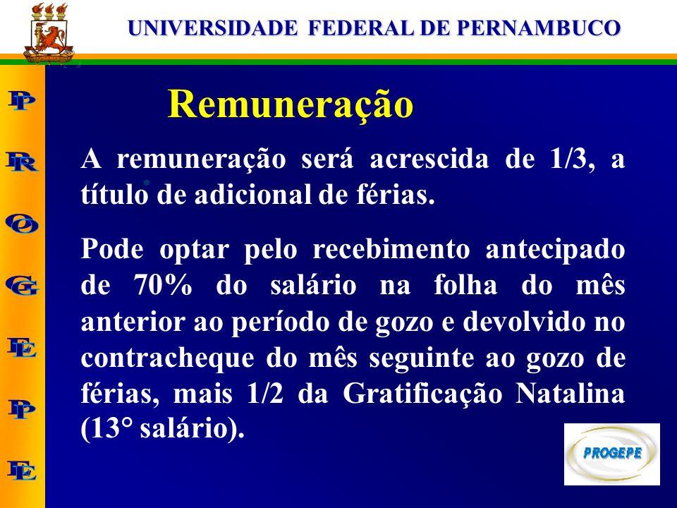 UNIVERSIDADE FEDERAL DE PERNAMBUCO Remuneração A remuneração será acrescida de 1/3, a título de adicional de férias. Pode optar pelo recebimento antec