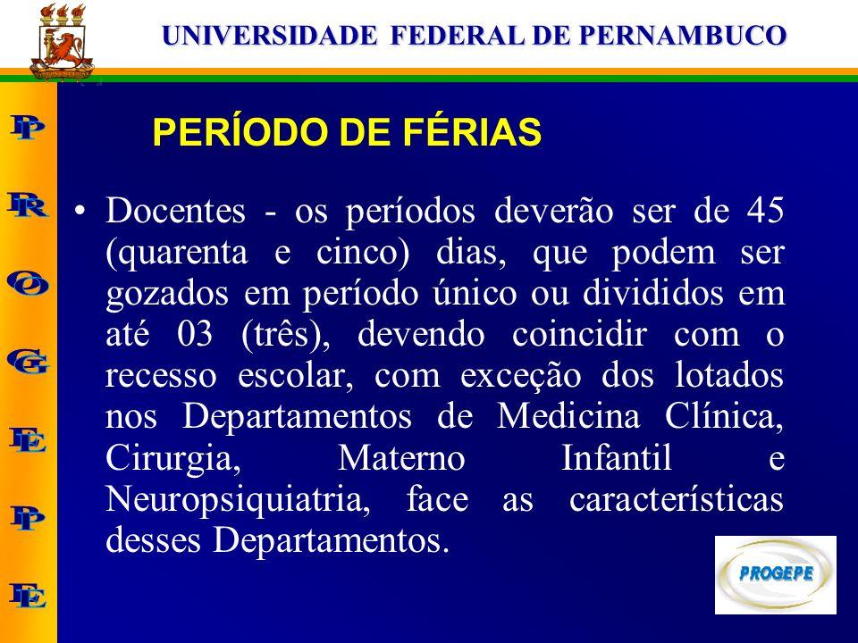 UNIVERSIDADE FEDERAL DE PERNAMBUCO Docentes - os períodos deverão ser de 45 (quarenta e cinco) dias, que podem ser gozados em período único ou dividid