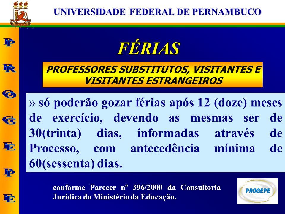 UNIVERSIDADE FEDERAL DE PERNAMBUCO PROFESSORES SUBSTITUTOS, VISITANTES E VISITANTES ESTRANGEIROS FÉRIAS » só poderão gozar férias após 12 (doze) meses