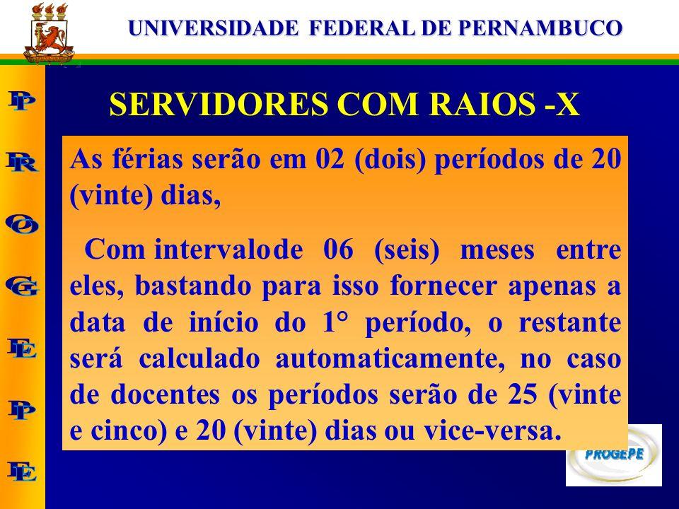 UNIVERSIDADE FEDERAL DE PERNAMBUCO SERVIDORES COM RAIOS -X As férias serão em 02 (dois) períodos de 20 (vinte) dias, Com intervalode 06 (seis) meses e