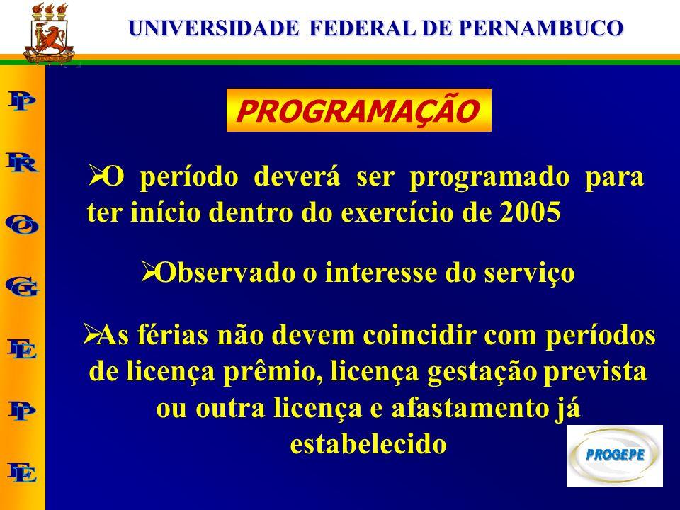 UNIVERSIDADE FEDERAL DE PERNAMBUCO PROGRAMAÇÃO O período deverá ser programado para ter início dentro do exercício de 2005 Observado o interesse do se