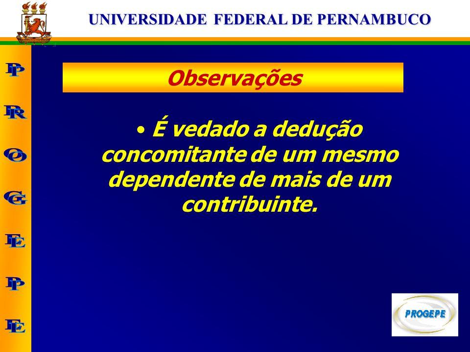 UNIVERSIDADE FEDERAL DE PERNAMBUCO Observações É vedado a dedução concomitante de um mesmo dependente de mais de um contribuinte.