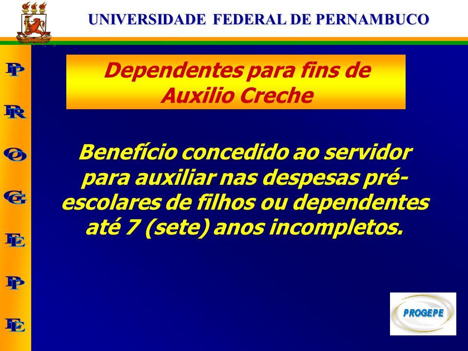 UNIVERSIDADE FEDERAL DE PERNAMBUCO Dependentes para fins de Auxilio Creche Benefício concedido ao servidor para auxiliar nas despesas pré- escolares d