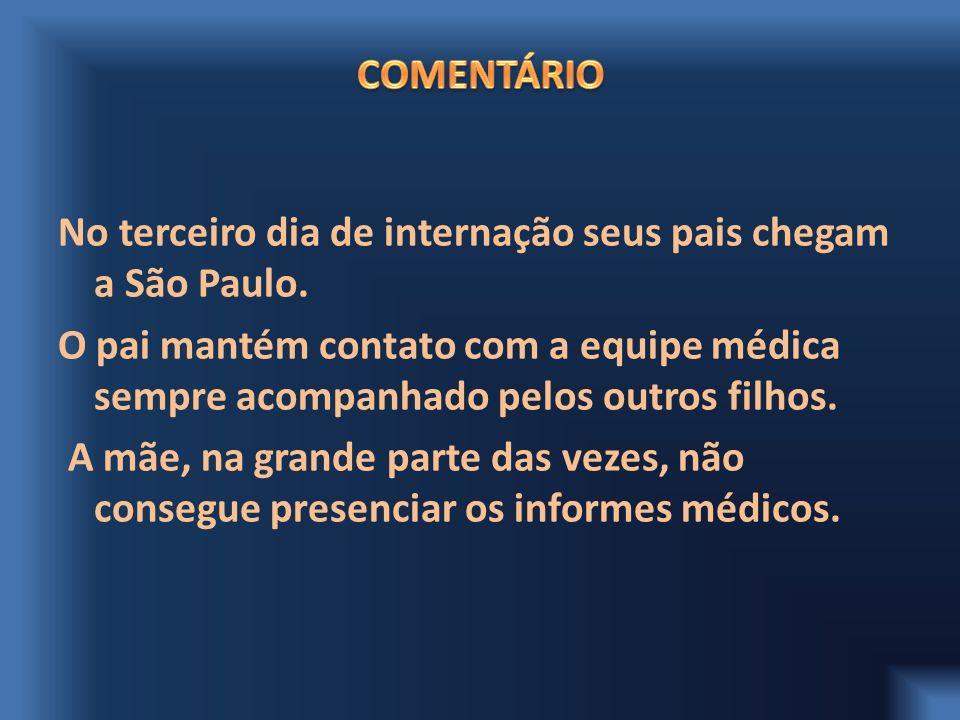 No terceiro dia de internação seus pais chegam a São Paulo. O pai mantém contato com a equipe médica sempre acompanhado pelos outros filhos. A mãe, na