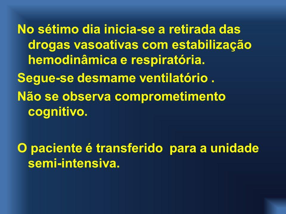 No sétimo dia inicia-se a retirada das drogas vasoativas com estabilização hemodinâmica e respiratória. Segue-se desmame ventilatório. Não se observa