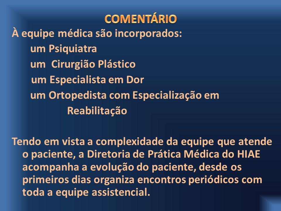 À equipe médica são incorporados: um Psiquiatra um Cirurgião Plástico um Especialista em Dor um Ortopedista com Especialização em Reabilitação Tendo e