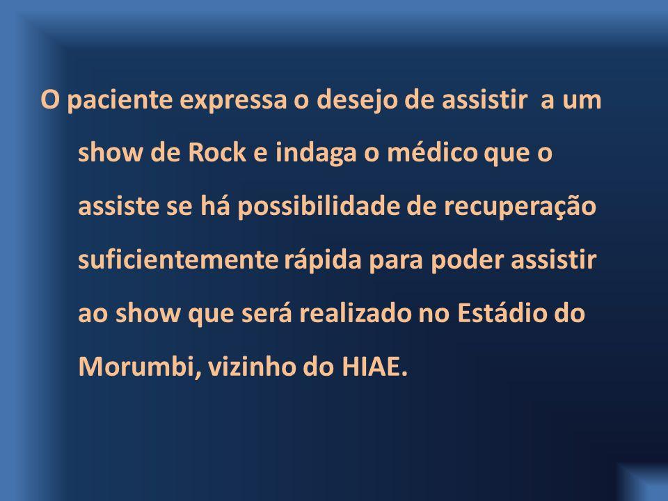 O paciente expressa o desejo de assistir a um show de Rock e indaga o médico que o assiste se há possibilidade de recuperação suficientemente rápida p