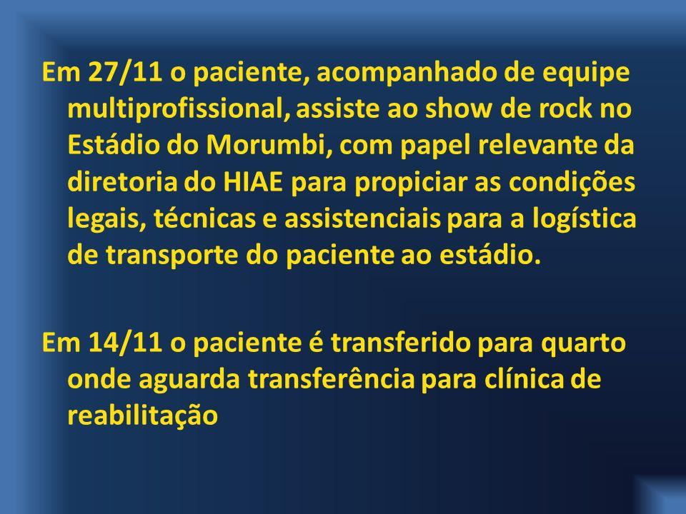 Em 27/11 o paciente, acompanhado de equipe multiprofissional, assiste ao show de rock no Estádio do Morumbi, com papel relevante da diretoria do HIAE