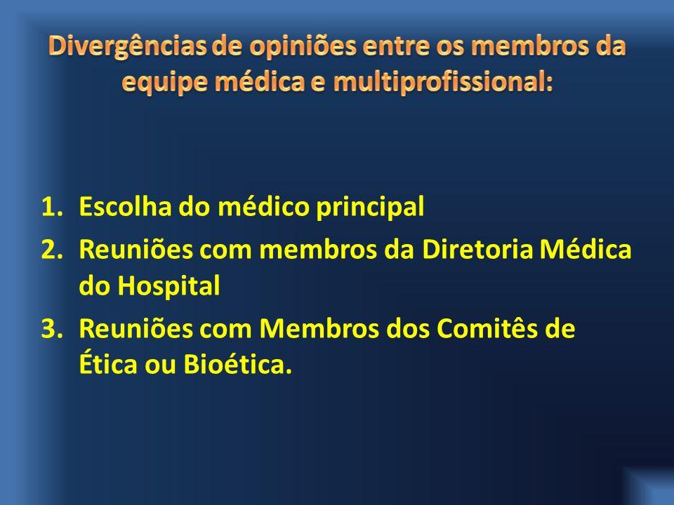 1.Escolha do médico principal 2.Reuniões com membros da Diretoria Médica do Hospital 3.Reuniões com Membros dos Comitês de Ética ou Bioética.