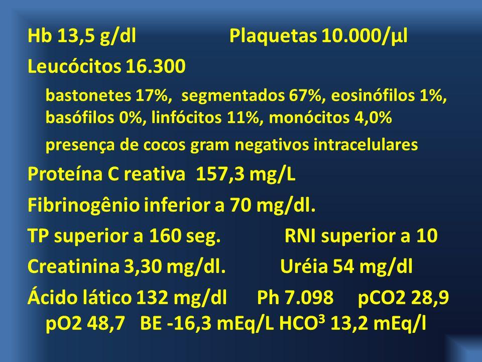 Hb 13,5 g/dl Plaquetas 10.000/μl Leucócitos 16.300 bastonetes 17%, segmentados 67%, eosinófilos 1%, basófilos 0%, linfócitos 11%, monócitos 4,0% prese