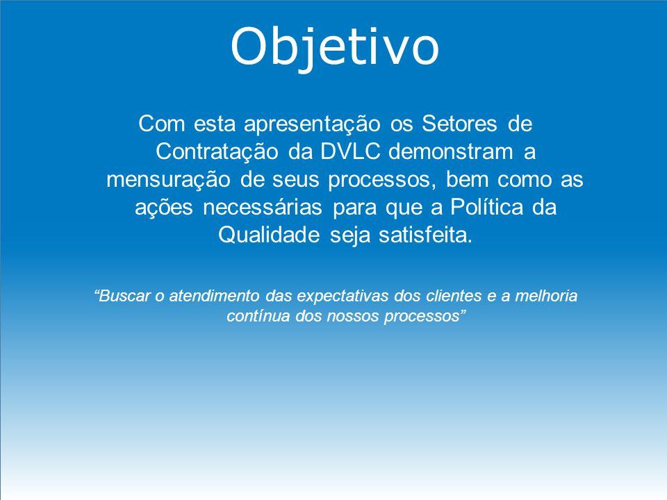 Objetivo Com esta apresentação os Setores de Contratação da DVLC demonstram a mensuração de seus processos, bem como as ações necessárias para que a P