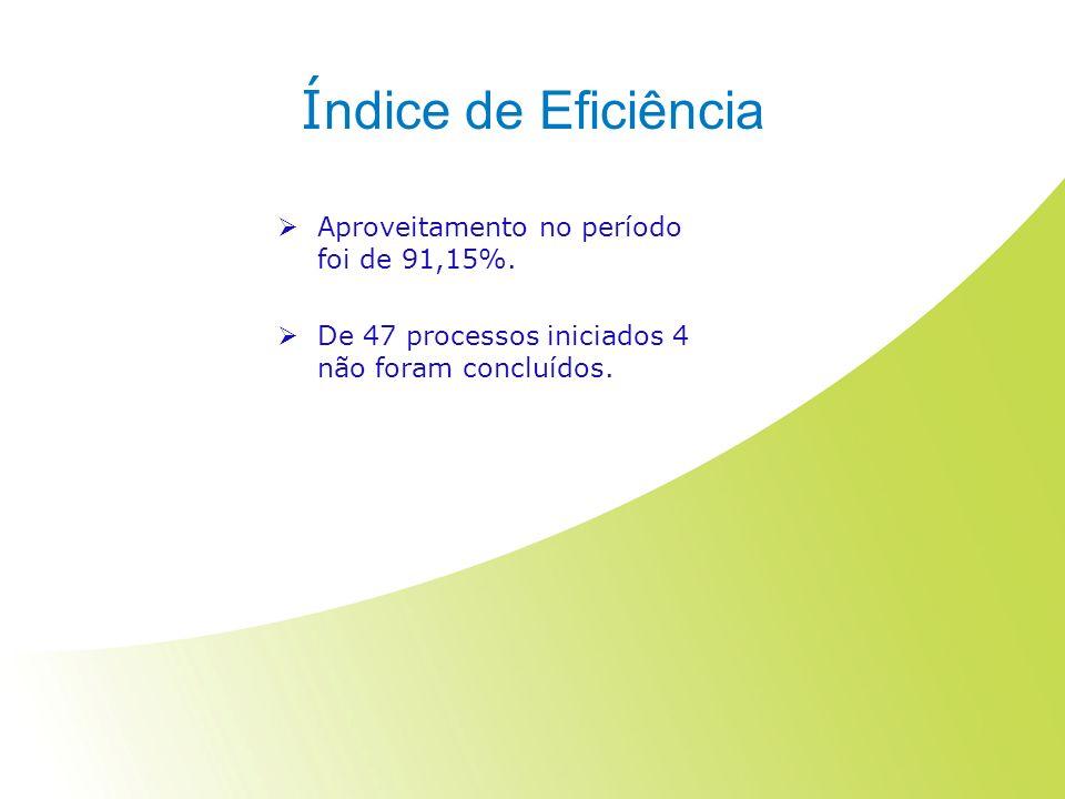 Í ndice de Eficiência Aproveitamento no período foi de 91,15%. De 47 processos iniciados 4 não foram concluídos.