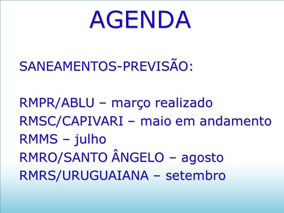 AGENDA SANEAMENTOS-PREVISÃO: RMPR/ABLU – março realizado RMSC/CAPIVARI – maio em andamento RMMS – julho RMRO/SANTO ÂNGELO – agosto RMRS/URUGUAIANA – setembro