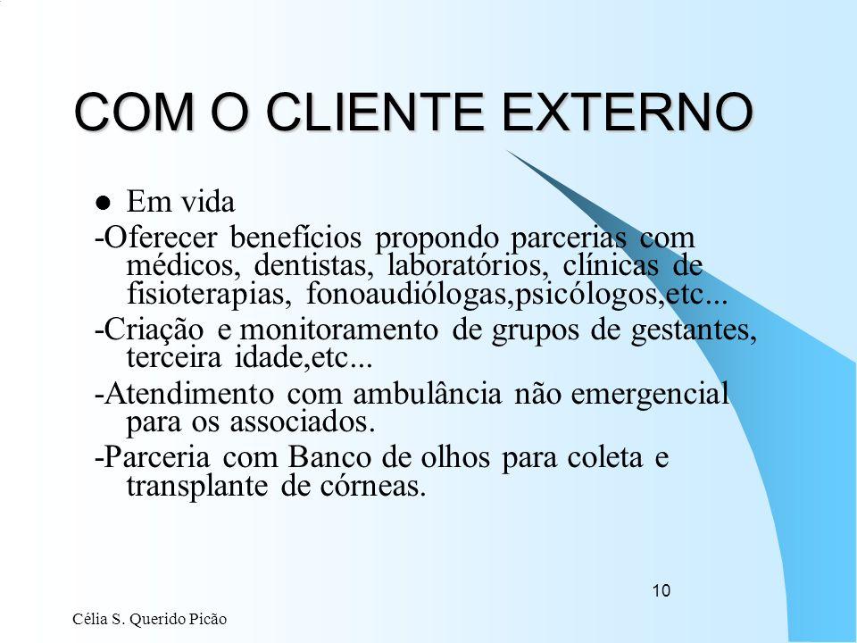 Célia S. Querido Picão 10 COM O CLIENTE EXTERNO Em vida -Oferecer benefícios propondo parcerias com médicos, dentistas, laboratórios, clínicas de fisi