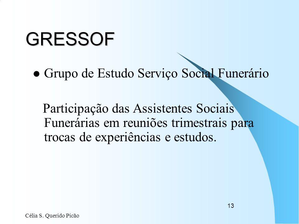 Célia S. Querido Picão 13 GRESSOF Grupo de Estudo Serviço Social Funerário Participação das Assistentes Sociais Funerárias em reuniões trimestrais par