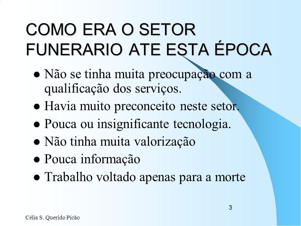 Célia S. Querido Picão 3 COMO ERA O SETOR FUNERARIO ATE ESTA ÉPOCA Não se tinha muita preocupação com a qualificação dos serviços. Havia muito preconc