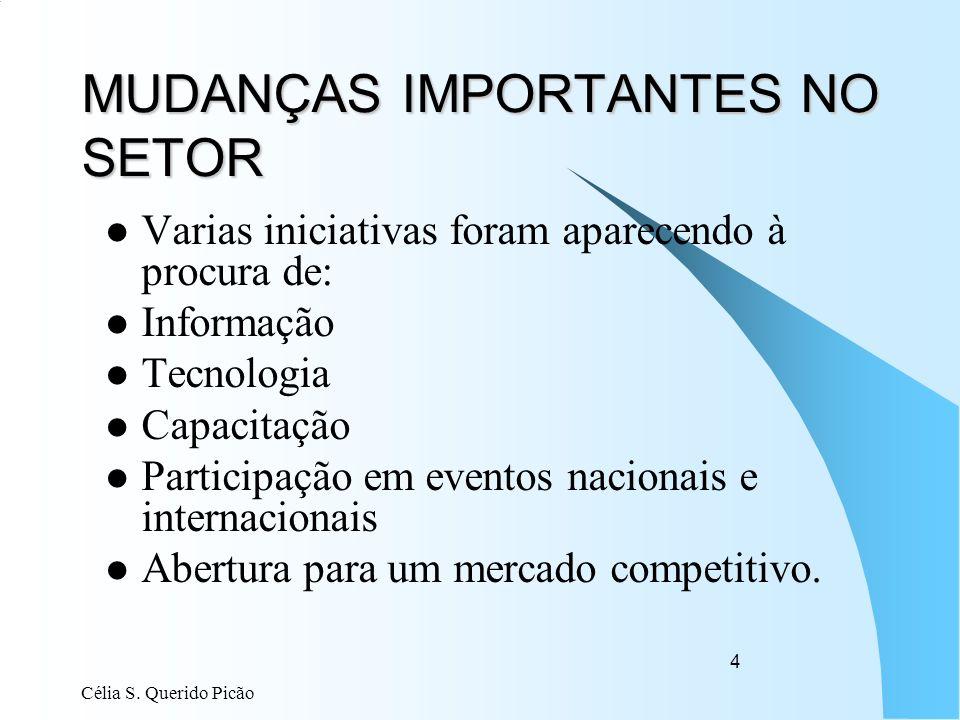 Célia S. Querido Picão 4 MUDANÇAS IMPORTANTES NO SETOR Varias iniciativas foram aparecendo à procura de: Informação Tecnologia Capacitação Participaçã