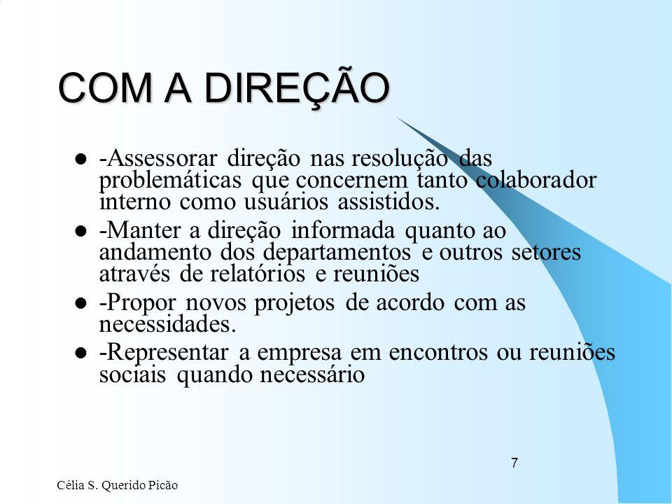 Célia S. Querido Picão 7 COM A DIREÇÃO -Assessorar direção nas resolução das problemáticas que concernem tanto colaborador interno como usuários assis