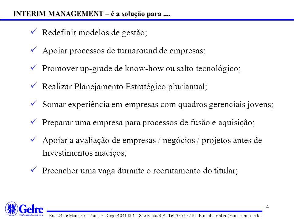 3 Interim Management é uma nova profissão de tempo integral e não uma atividade para preencher a lacuna entre dois trabalhos como empregado; é uma sol