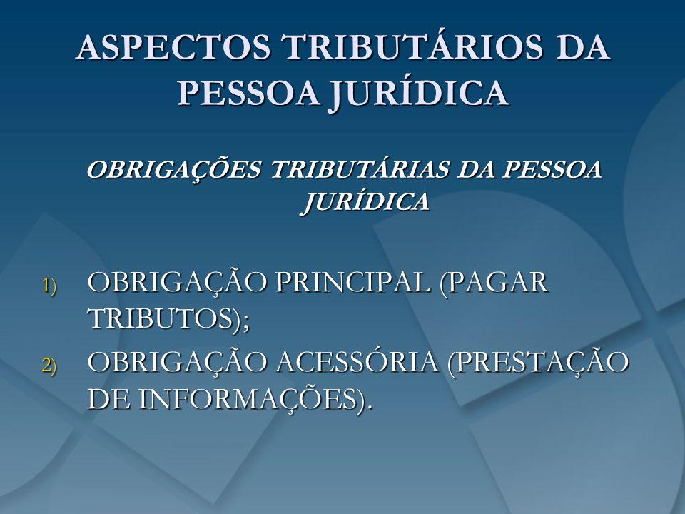 ASPECTOS TRIBUTÁRIOS DA PESSOA JURÍDICA OBRIGAÇÕES TRIBUTÁRIAS DA PESSOA JURÍDICA 1) OBRIGAÇÃO PRINCIPAL (PAGAR TRIBUTOS); 2) OBRIGAÇÃO ACESSÓRIA (PRE