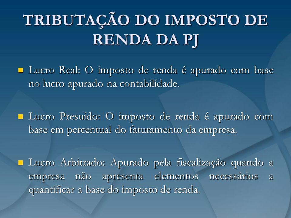 TRIBUTAÇÃO DO IMPOSTO DE RENDA DA PJ Lucro Real: O imposto de renda é apurado com base no lucro apurado na contabilidade. Lucro Real: O imposto de ren
