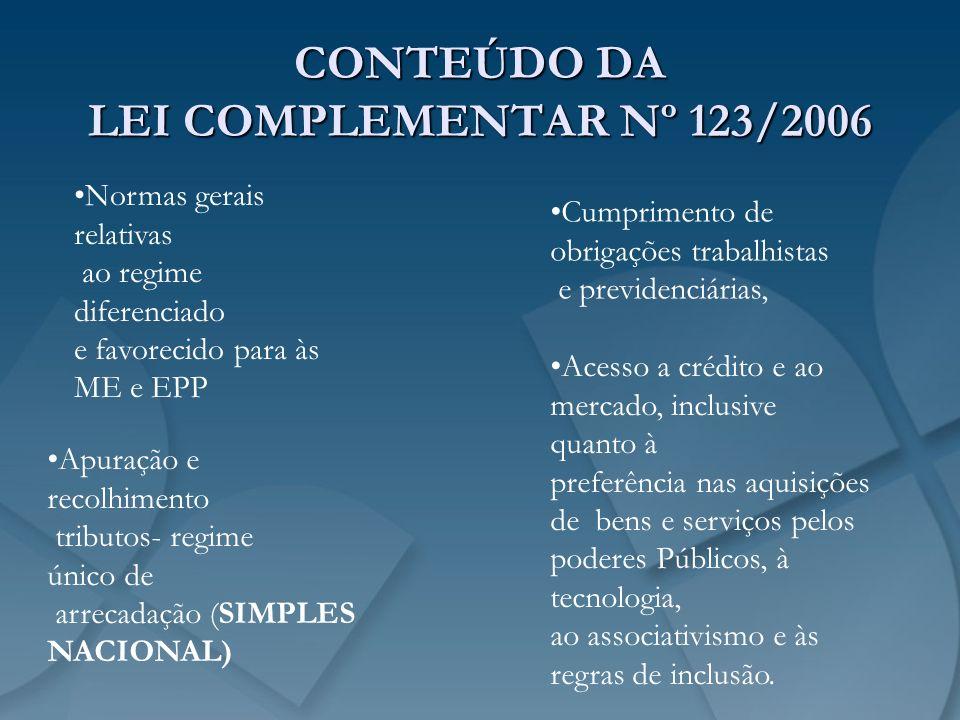 CONTEÚDO DA LEI COMPLEMENTAR Nº 123/2006 Normas gerais relativas ao regime diferenciado e favorecido para às ME e EPP Cumprimento de obrigações trabal