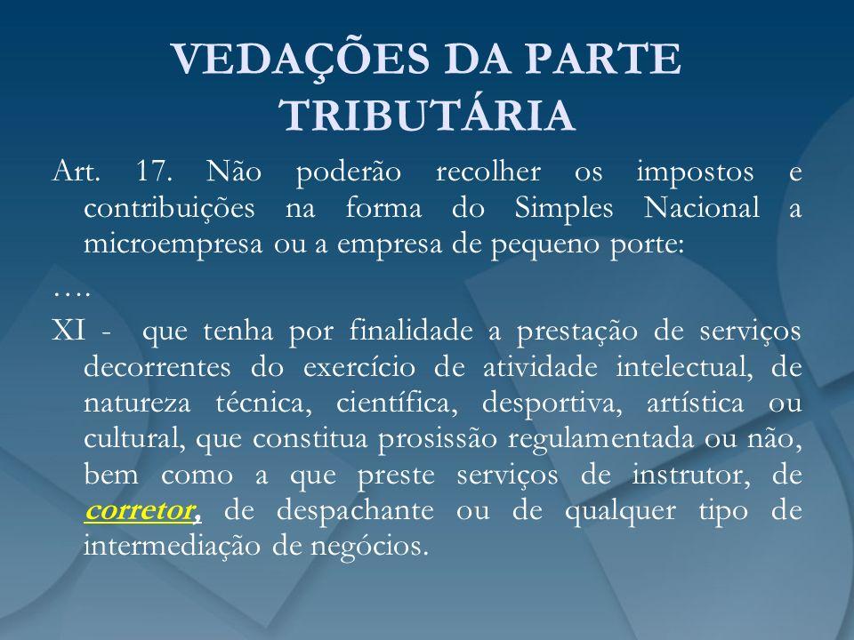VEDAÇÕES DA PARTE TRIBUTÁRIA Art. 17. Não poderão recolher os impostos e contribuições na forma do Simples Nacional a microempresa ou a empresa de peq