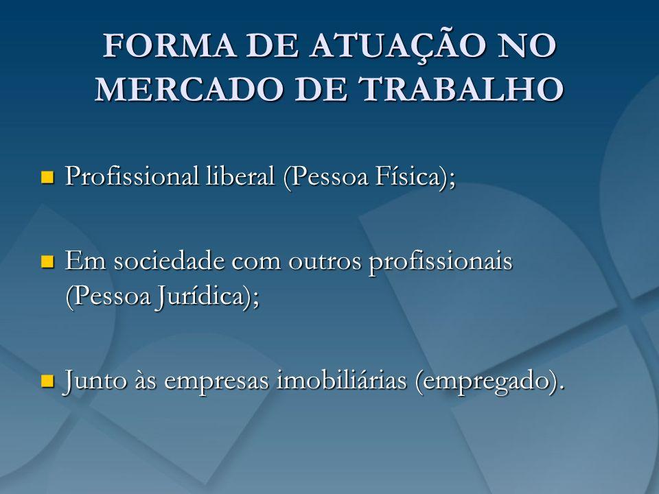 FORMA DE ATUAÇÃO NO MERCADO DE TRABALHO Profissional liberal (Pessoa Física); Profissional liberal (Pessoa Física); Em sociedade com outros profission