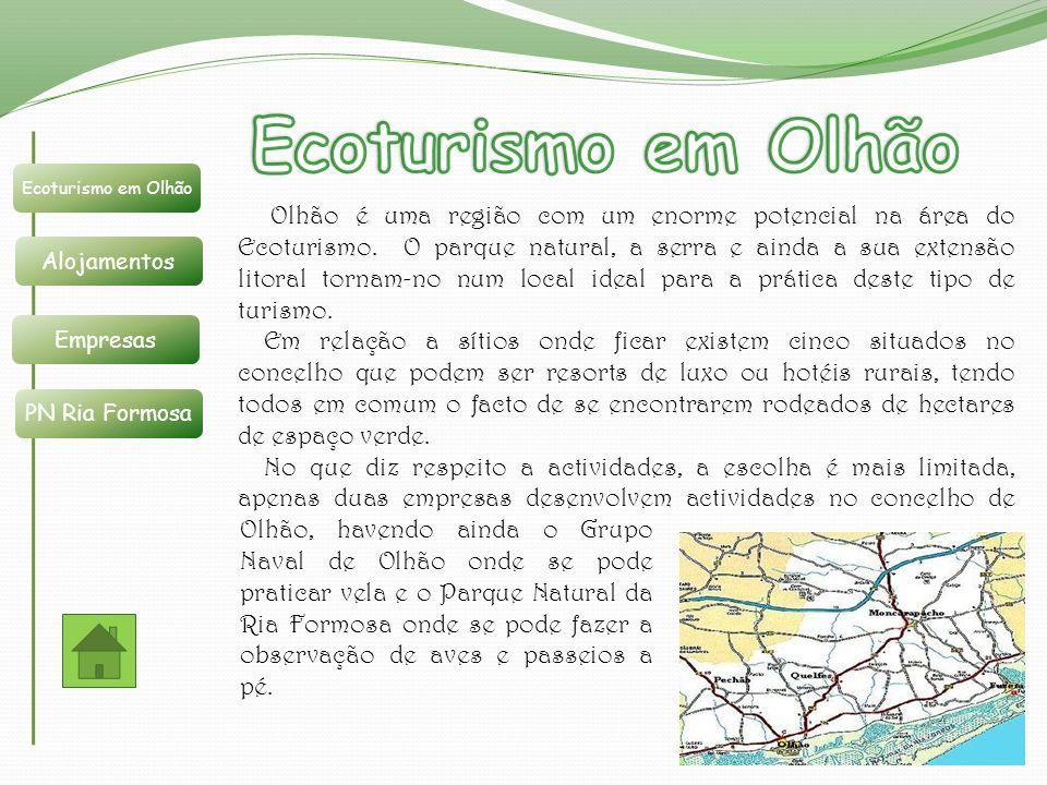 Olhão é uma região com um enorme potencial na área do Ecoturismo. O parque natural, a serra e ainda a sua extensão litoral tornam-no num local ideal p
