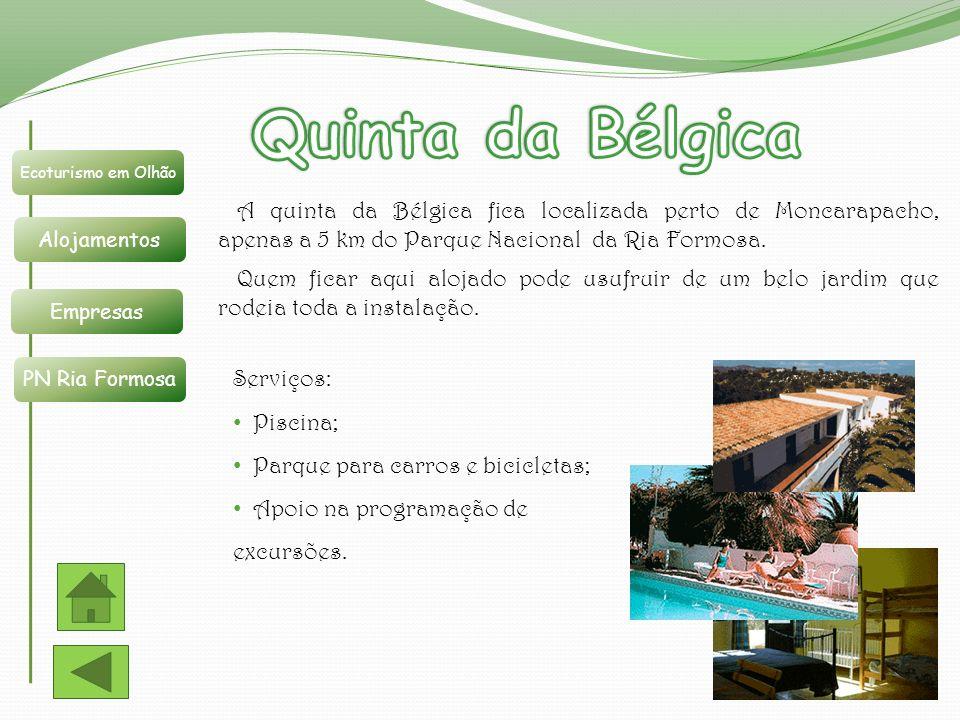 Ecoturismo em Olhão Alojamentos Empresas PN Ria Formosa A quinta da Bélgica fica localizada perto de Moncarapacho, apenas a 5 km do Parque Nacional da