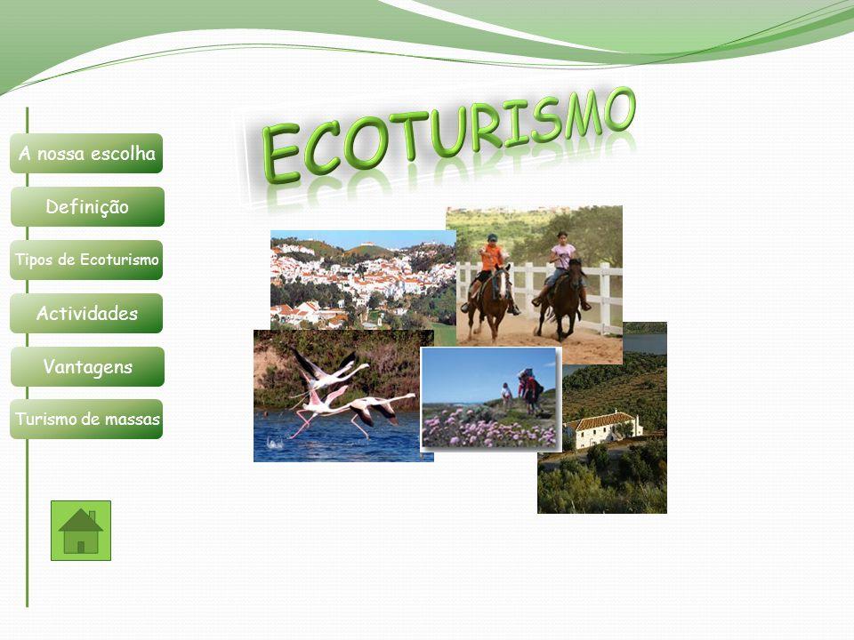 Definição A nossa escolha Tipos de Ecoturismo Actividades Vantagens Turismo de massas