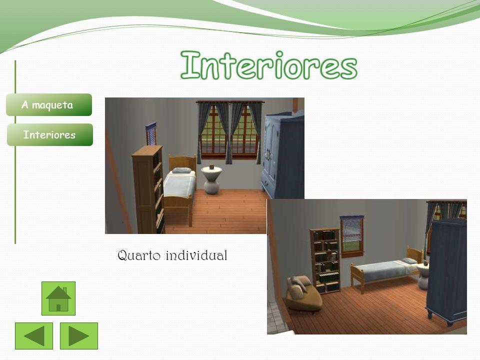 Quarto individual A maqueta Interiores