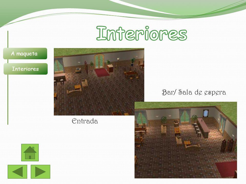 A maqueta Interiores Entrada Bar/ Sala de espera