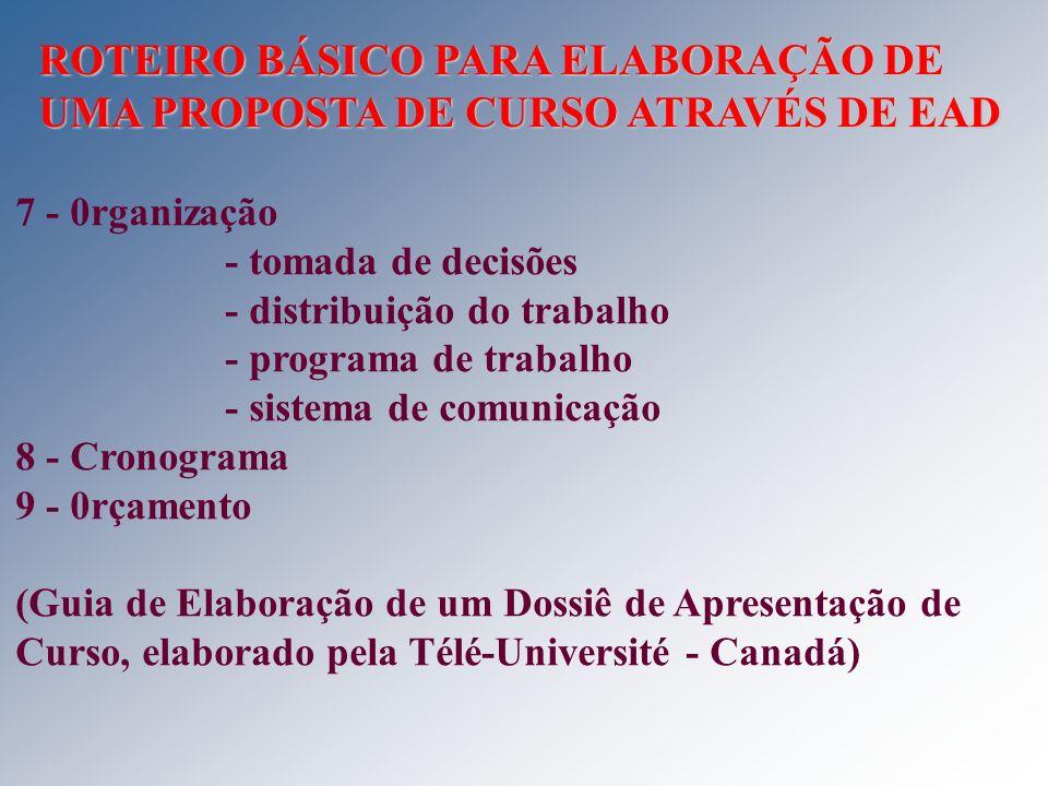 7 - 0rganização - tomada de decisões - distribuição do trabalho - programa de trabalho - sistema de comunicação 8 - Cronograma 9 - 0rçamento (Guia de