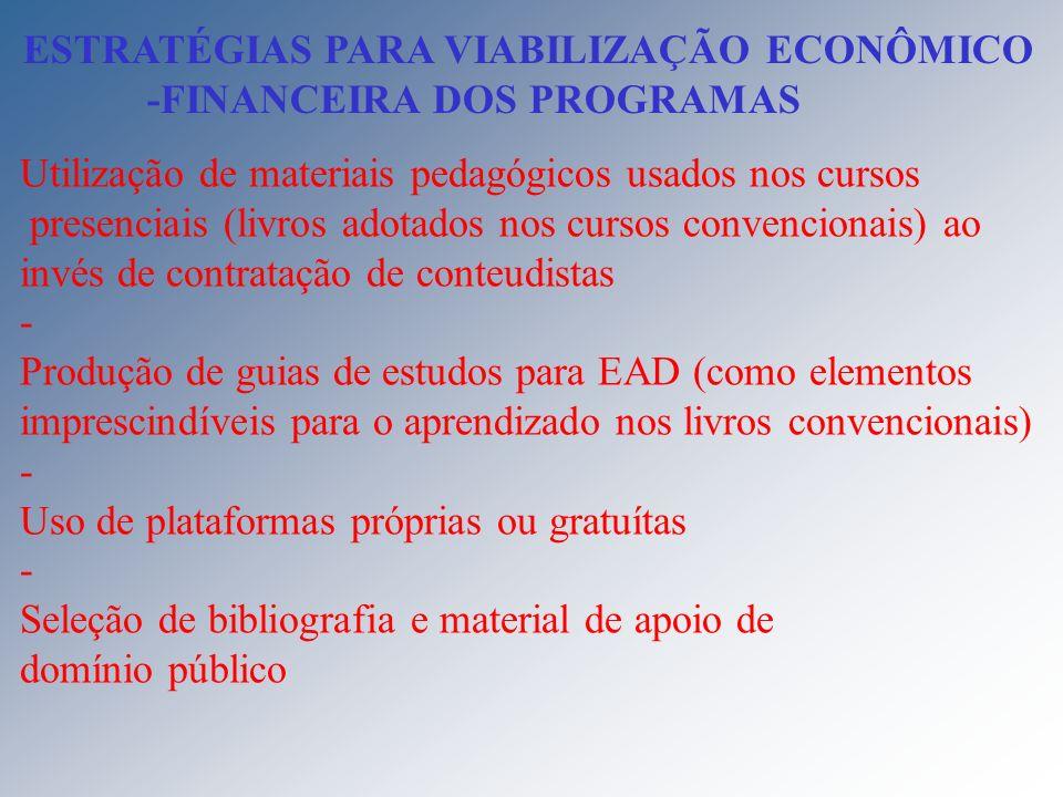 ESTRATÉGIAS PARA VIABILIZAÇÃO ECONÔMICO -FINANCEIRA DOS PROGRAMAS Utilização de materiais pedagógicos usados nos cursos presenciais (livros adotados n