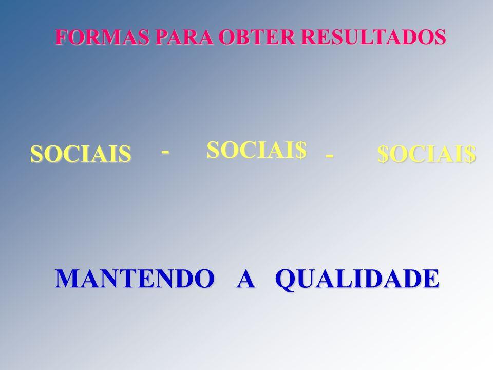 FORMAS PARA OBTER RESULTADOS MANTENDO A QUALIDADE SOCIAIS - SOCIAI$ - $OCIAI$
