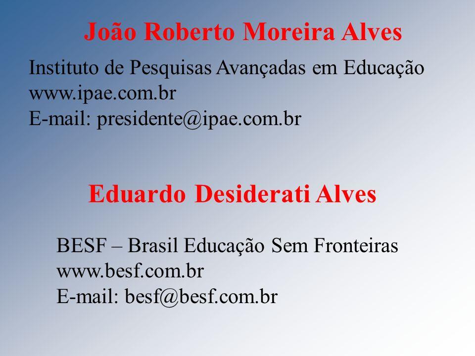 João Roberto Moreira Alves Instituto de Pesquisas Avançadas em Educação www.ipae.com.br E-mail: presidente@ipae.com.br Eduardo Desiderati Alves BESF –