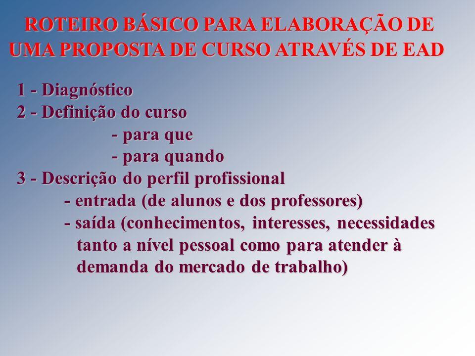ROTEIRO BÁSICO PARA ELABORAÇÃO DE UMA PROPOSTA DE CURSO ATRAVÉS DE EAD ROTEIRO BÁSICO PARA ELABORAÇÃO DE UMA PROPOSTA DE CURSO ATRAVÉS DE EAD 1 - Diag
