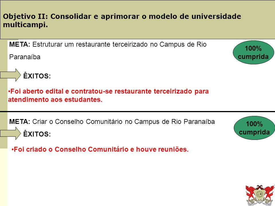 Obj. 19: PINGIFES Objetivo II: Consolidar e aprimorar o modelo de universidade multicampi. ÊXITOS: Foi aberto edital e contratou-se restaurante tercei