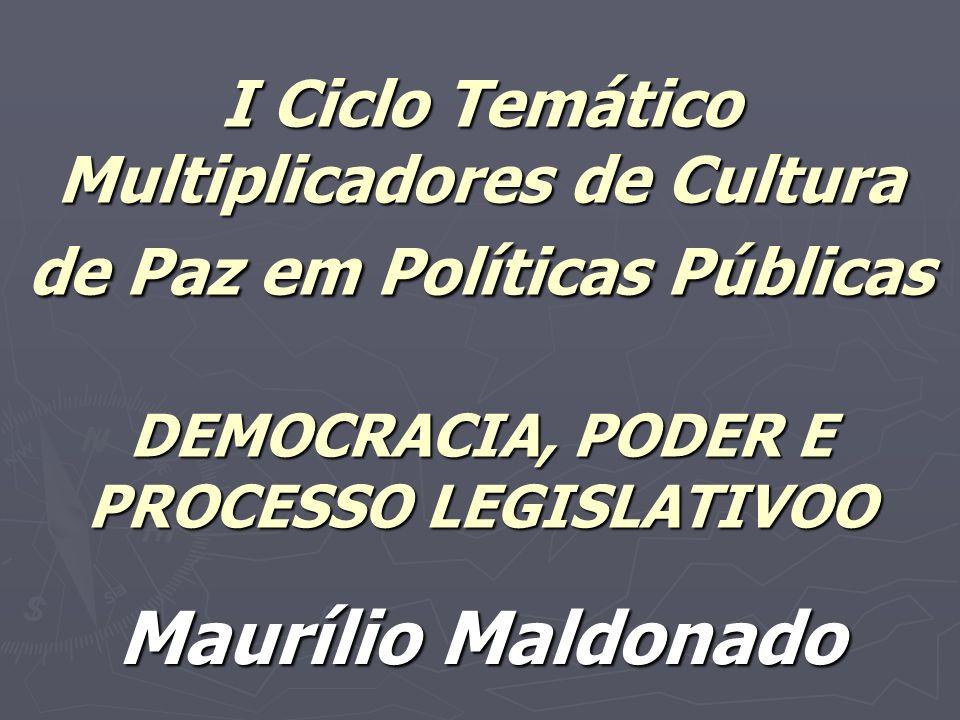 I Ciclo Temático Multiplicadores de Cultura de Paz em Políticas Públicas DEMOCRACIA, PODER E PROCESSO LEGISLATIVOO Maurílio Maldonado