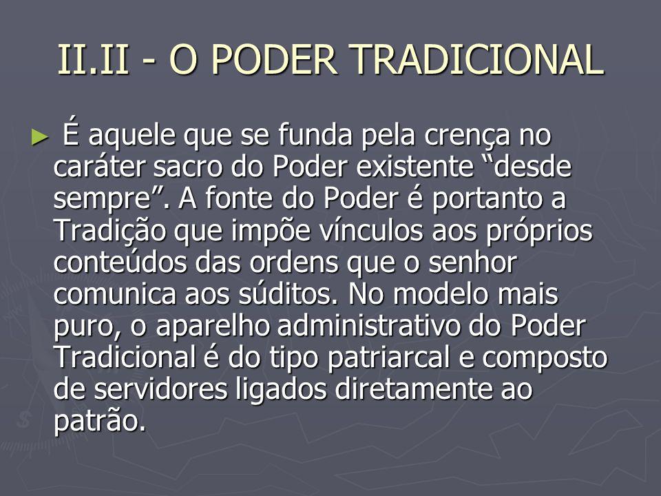 II.II - O PODER TRADICIONAL É aquele que se funda pela crença no caráter sacro do Poder existente desde sempre.