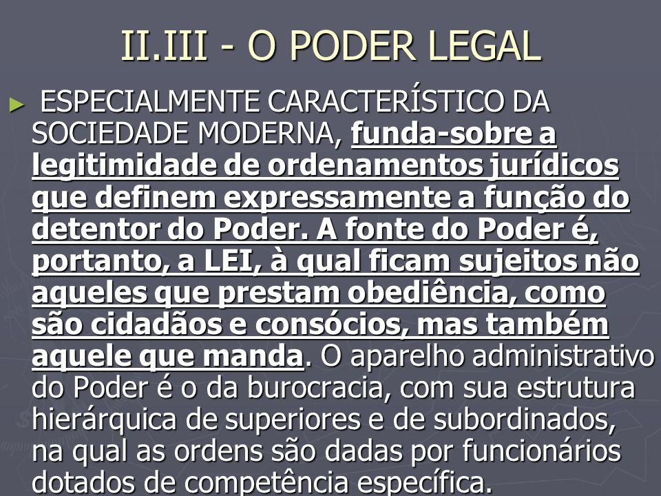 II.III - O PODER LEGAL ESPECIALMENTE CARACTERÍSTICO DA SOCIEDADE MODERNA, funda-sobre a legitimidade de ordenamentos jurídicos que definem expressamente a função do detentor do Poder.