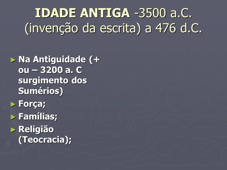 IDADE ANTIGA -3500 a.C.(invenção da escrita) a 476 d.C.
