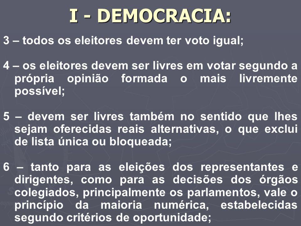 I - DEMOCRACIA: 3 – todos os eleitores devem ter voto igual; 4 – os eleitores devem ser livres em votar segundo a própria opinião formada o mais livremente possível; 5 – devem ser livres também no sentido que lhes sejam oferecidas reais alternativas, o que exclui de lista única ou bloqueada; 6 – tanto para as eleições dos representantes e dirigentes, como para as decisões dos órgãos colegiados, principalmente os parlamentos, vale o princípio da maioria numérica, estabelecidas segundo critérios de oportunidade;