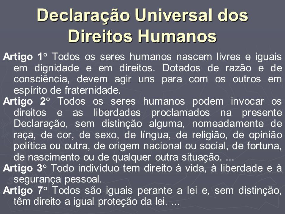 Declaração Universal dos Direitos Humanos Artigo 1° Todos os seres humanos nascem livres e iguais em dignidade e em direitos.