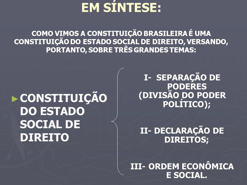 EM SÍNTESE: COMO VIMOS A CONSTITUIÇÃO BRASILEIRA É UMA CONSTITUIÇÃO DO ESTADO SOCIAL DE DIREITO, VERSANDO, PORTANTO, SOBRE TRÊS GRANDES TEMAS: CONSTITUIÇÃO DO ESTADO SOCIAL DE DIREITO I- SEPARAÇÃO DE PODERES (DIVISÃO DO PODER POLÍTICO); II- DECLARAÇÃO DE DIREITOS; III- ORDEM ECONÔMICA E SOCIAL.