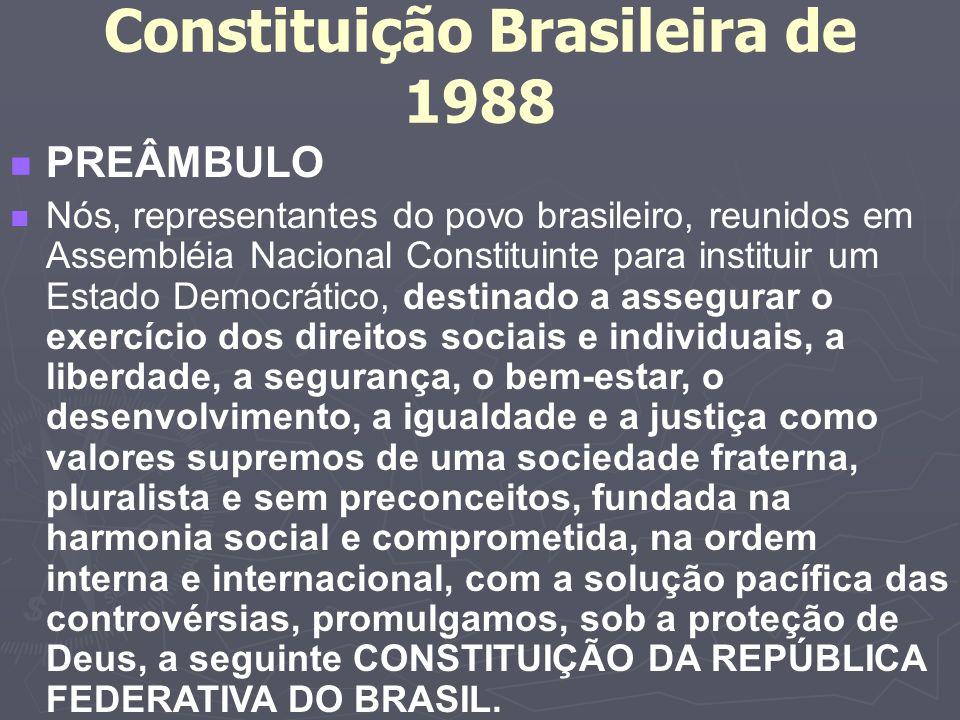Constituição Brasileira de 1988 n PREÂMBULO n Nós, representantes do povo brasileiro, reunidos em Assembléia Nacional Constituinte para instituir um Estado Democrático, destinado a assegurar o exercício dos direitos sociais e individuais, a liberdade, a segurança, o bem-estar, o desenvolvimento, a igualdade e a justiça como valores supremos de uma sociedade fraterna, pluralista e sem preconceitos, fundada na harmonia social e comprometida, na ordem interna e internacional, com a solução pacífica das controvérsias, promulgamos, sob a proteção de Deus, a seguinte CONSTITUIÇÃO DA REPÚBLICA FEDERATIVA DO BRASIL.