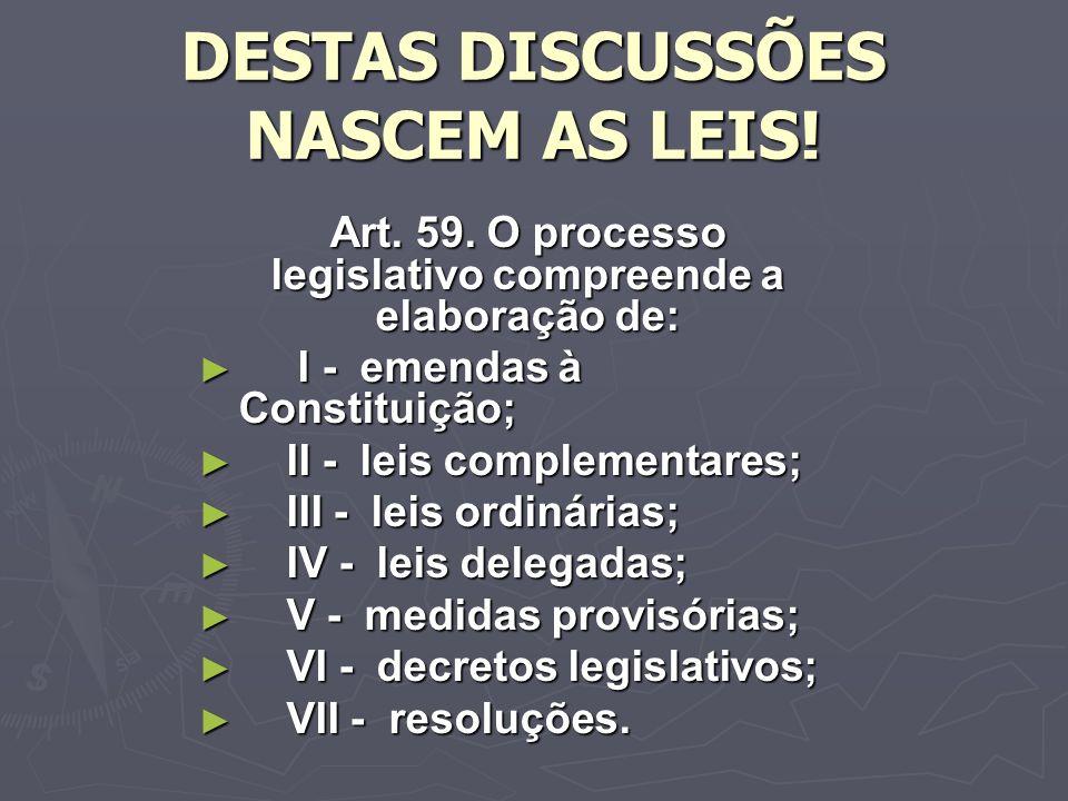 DESTAS DISCUSSÕES NASCEM AS LEIS.Art. 59.