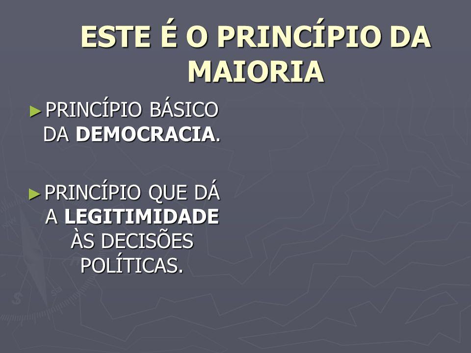ESTE É O PRINCÍPIO DA MAIORIA PRINCÍPIO BÁSICO DA DEMOCRACIA.